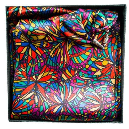 Lady Crow Silks Brillante joya de satén y bufanda de seda con cierre magnético en caja