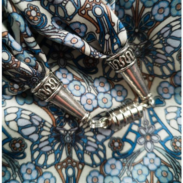 Blue Morris Satin and Silk Scarf  with magnetic clasp Boxed