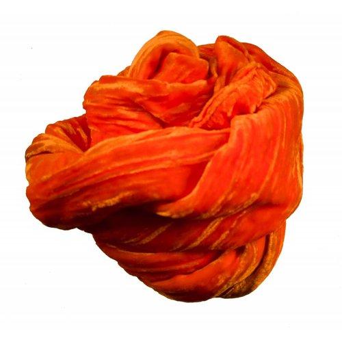 Lady Crow Silks Tangerine Silk Double Velvet scarf 065