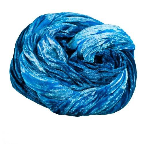 Lady Crow Silks Blau gefärbter Double Velvet Schal