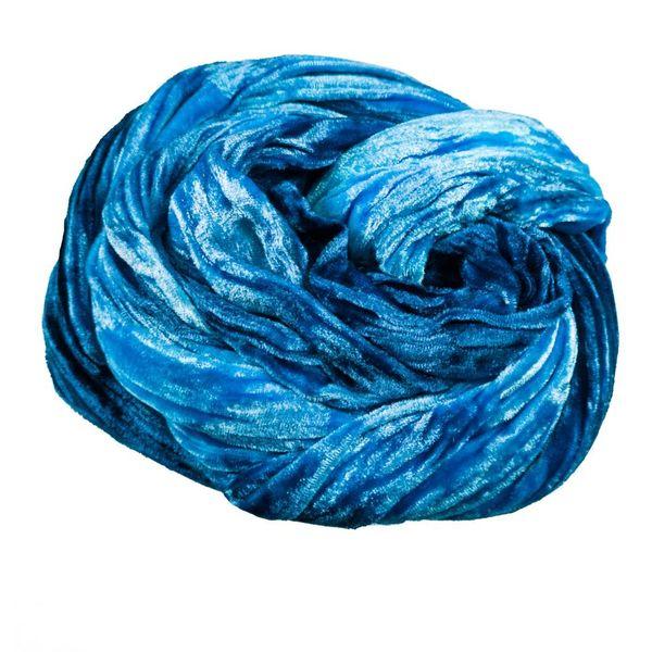 Blau gefärbter Double Velvet Schal