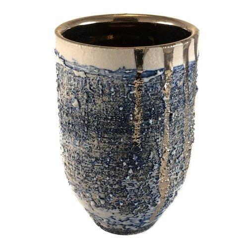 Alex McCarthy Jarrón con textura en forma de brillo de platino