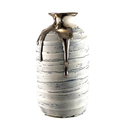 Alex McCarthy Textured tall vase form platinum lustre