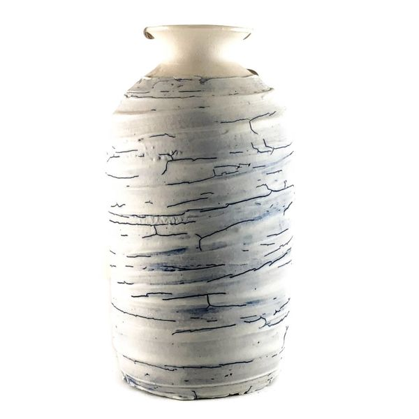 Textured tall vase form platinum lustre