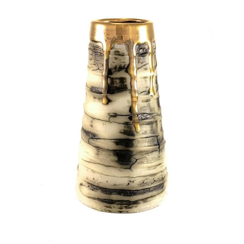 Alex McCarthy Textured conical form gold lustre