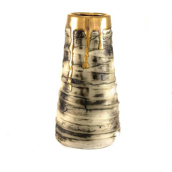 Textured conical form gold lustre