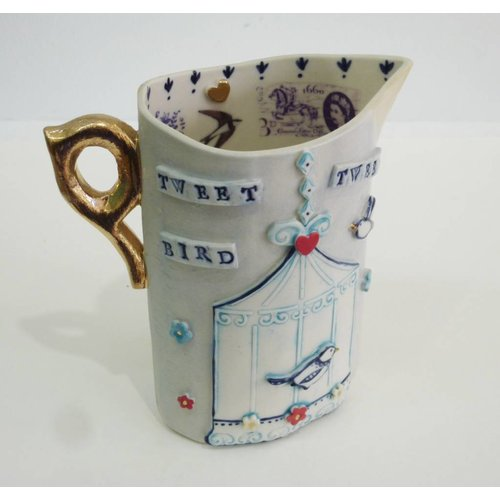 Katie Almond Tweet Bird  Jug Porcelain