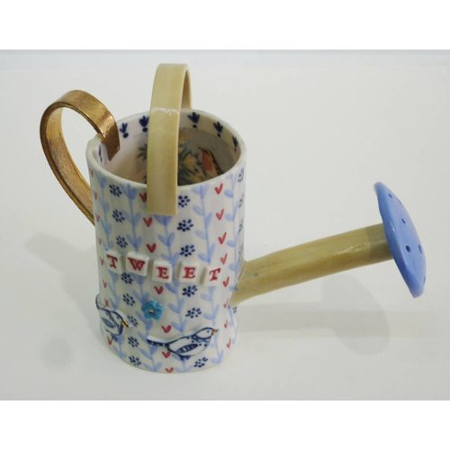 Katie Almond Watering Can Blue rose Porcelain