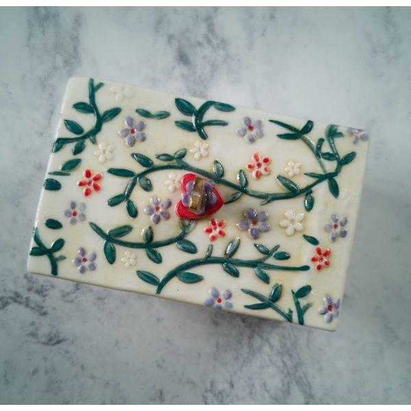 Tinket Blatt Box mit Deckel Porzellan