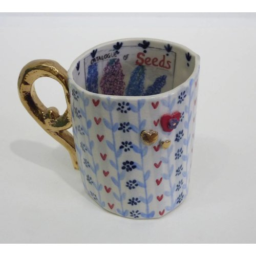 Katie Almond Seeds, hearts and cups porcelain mug