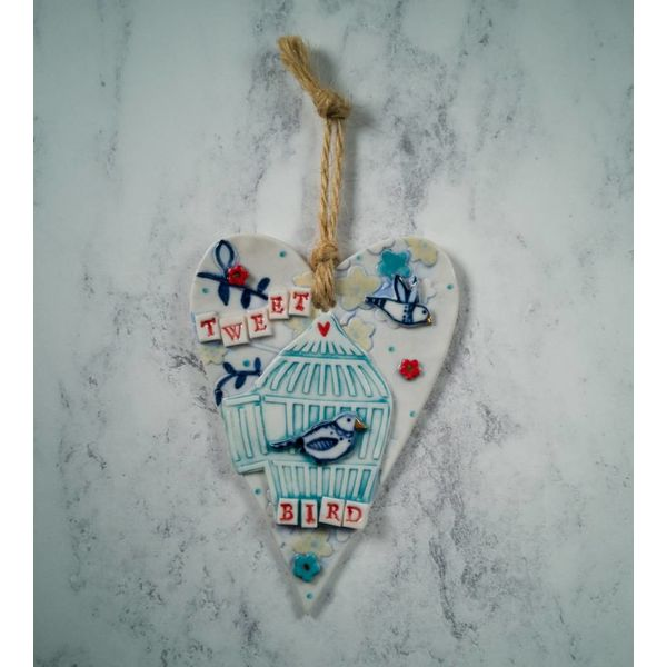 Hanging Tweet Bird Heart Porcelana