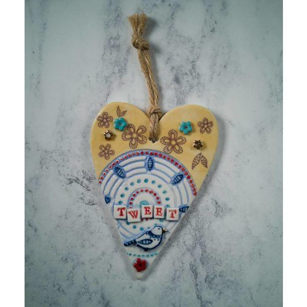 Hanging  Tweet  Heart Porcelain