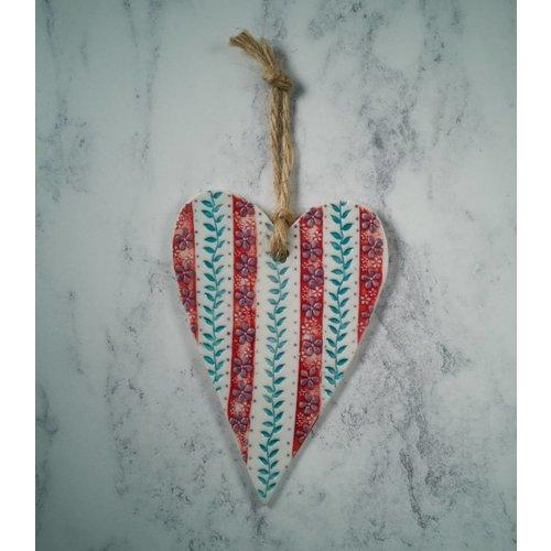 Katie Almond Colgante Red Stripe Heart Porcelain