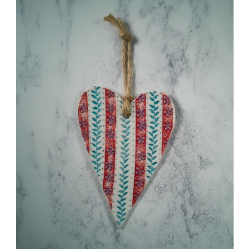Katie Almond Hanging  Red stripe Heart Porcelain