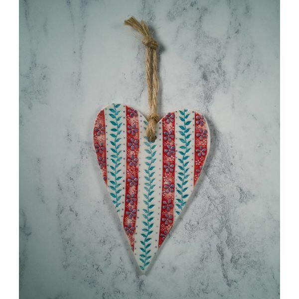 Colgante Red Stripe Heart Porcelain