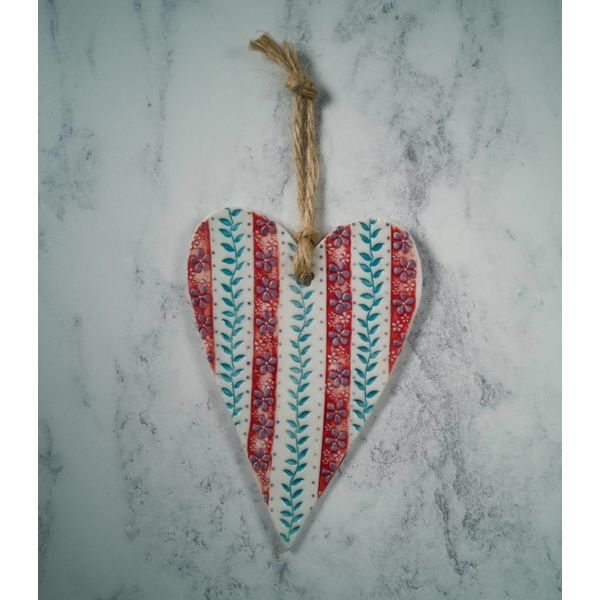 Hanging  Red stripe Heart Porcelain