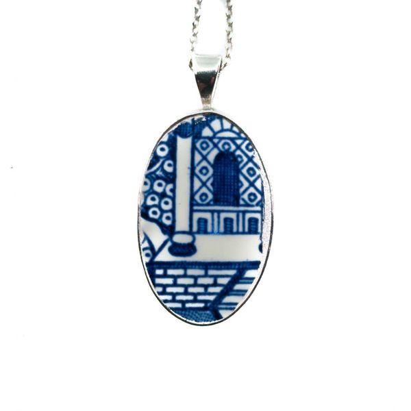 Ovalweide Keramik und Silber Halskette