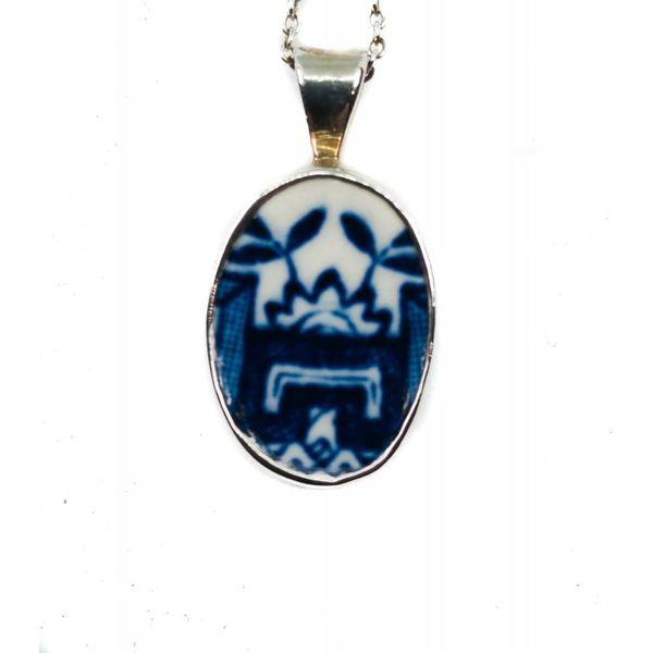 Oval kleine Weide Keramik und Silber Halskette