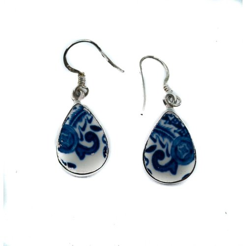Two Skies Teardrop willow ceramic and silver hook earring