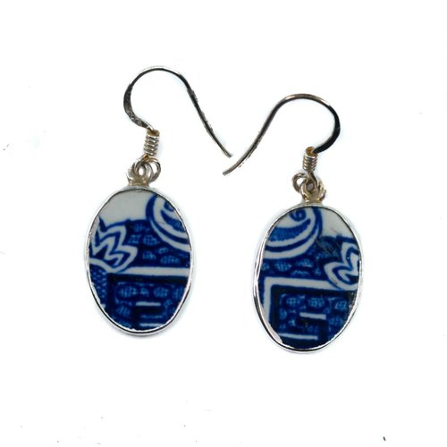 Two Skies Oval willow ceramicl and silver hook earring