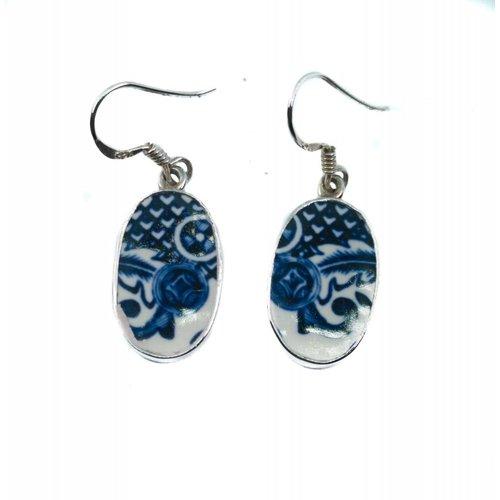 Two Skies Oval 3 Weiden Keramik und Silber Haken Ohrringe