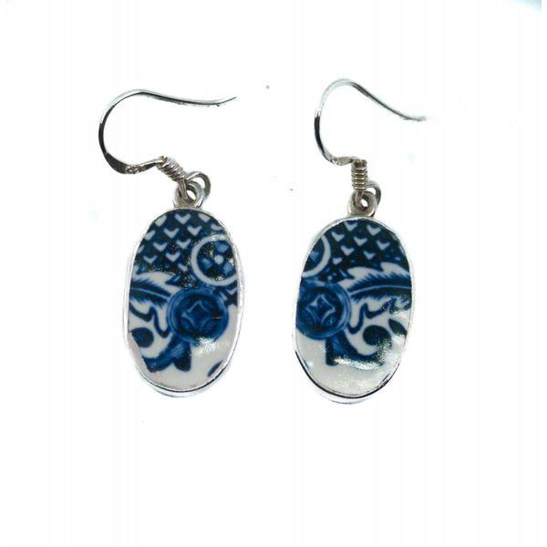 Oval 3 Weiden Keramik und Silber Haken Ohrringe