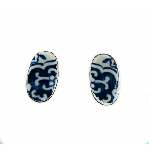 Two Skies Oval willow ceramic and silver stud earrings