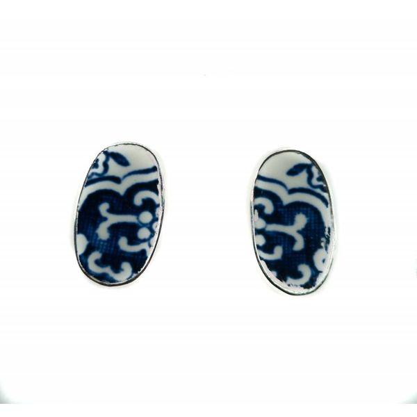 Pendientes de botón de cerámica y plata de sauce ovalado