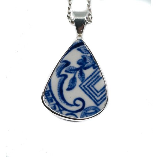 Two Skies Teardrop 2 willow ceramic and silver necklace