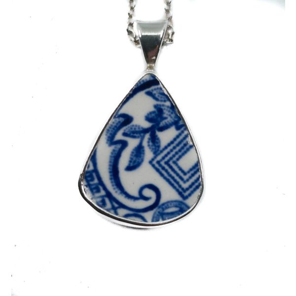 Teardrop 2 willow ceramic and silver necklace