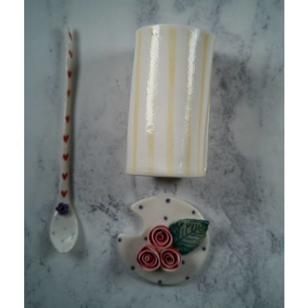 Condiment  Lidded Pot with spoon Porcelain