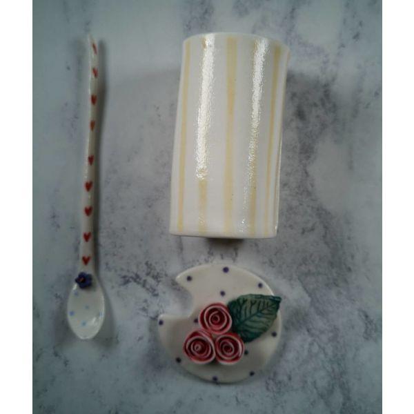 Condimento Olla tapada con cuchara Porcelana