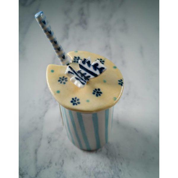Condiment Butterfly Deckelkanne mit Löffel Porzellan