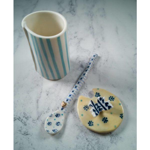 Condimento Mariposa Olla con tapa con cuchara Porcelana