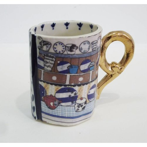 Katie Almond Blue Stripes, swallow and dresser  porcelain mug