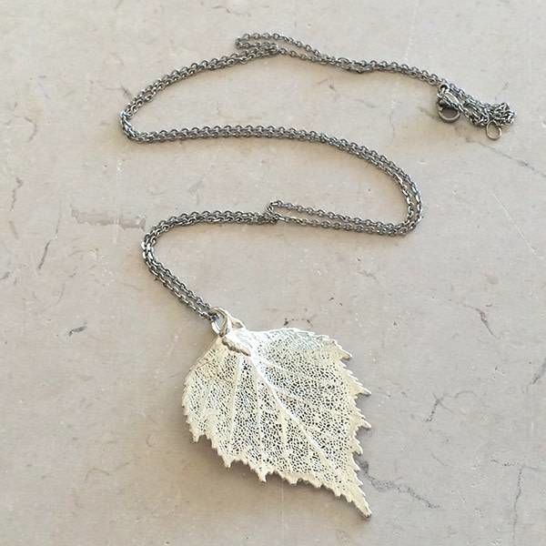 Natural Birch Silver Pendant