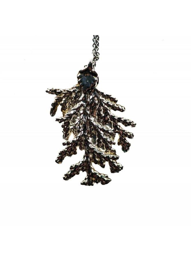 Pine leaf silver pendant