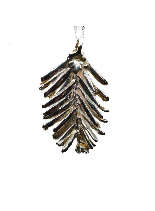 Cyprus leaf silver pendant