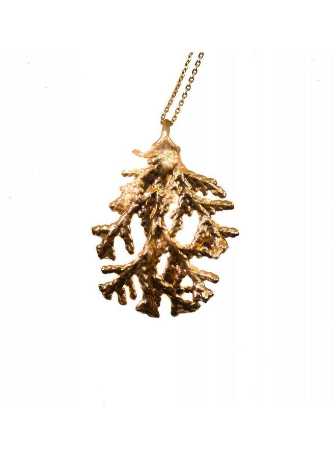 Pine leaf rose gold pendant