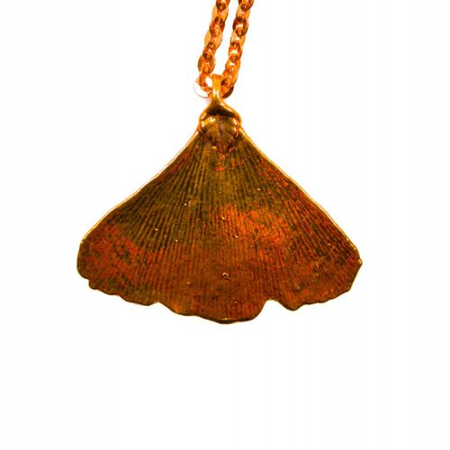 Roxburgh Ginkgo leaf rose gold pendant