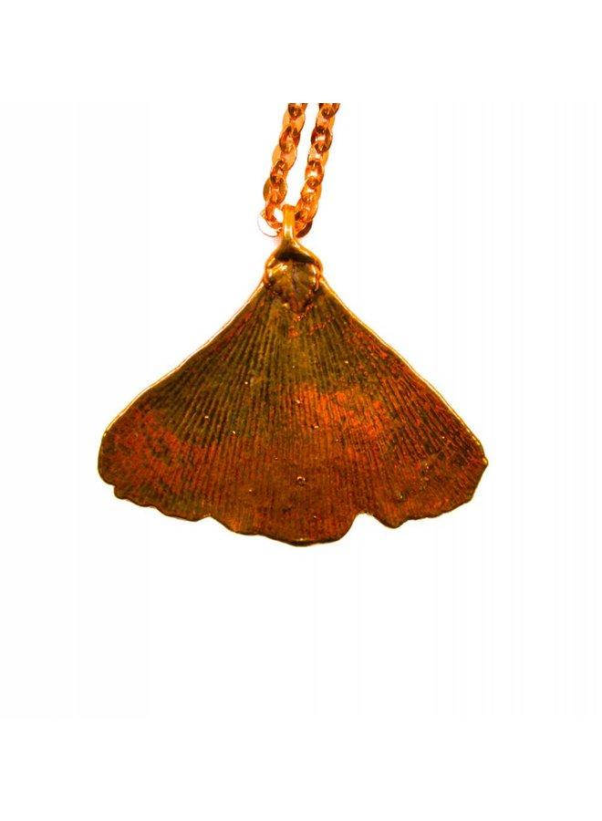 Ginkgo leaf rose gold pendant