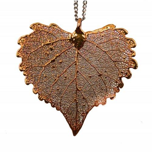 Forever Leaves Cottonwood Leaf copper pendant