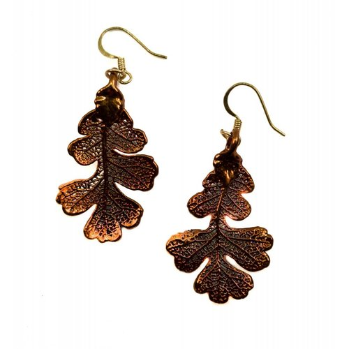 Forever Leaves Pendientes colgantes de cobre de hoja de roble