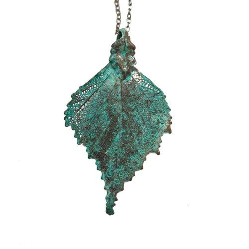 Forever Leaves Birch leaf verdigris pendant