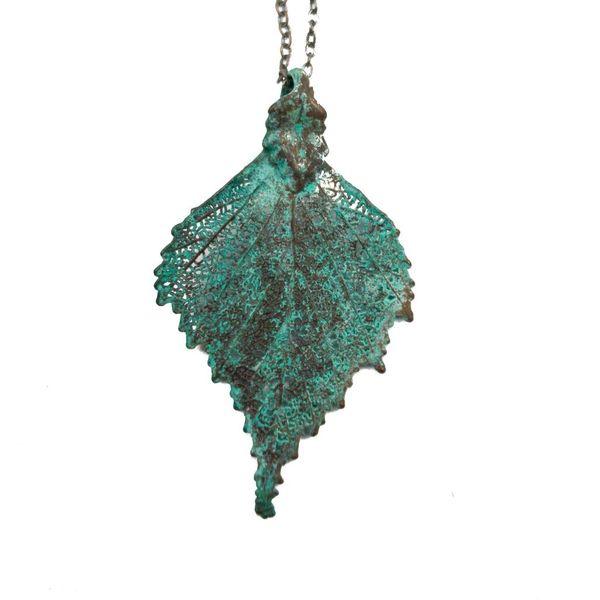 Birch leaf verdigris pendant
