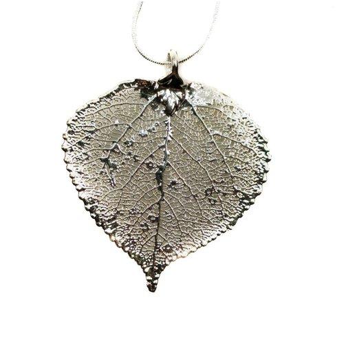 Forever Leaves Aspen leaf silver pendant