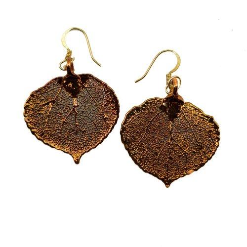 Forever Leaves Pendientes de cobre de hoja de álamo