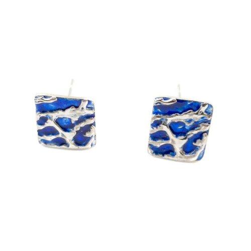 Maria Santos Ripples enamel silver stud earrings