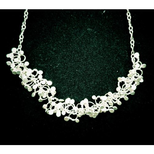 Hannah Hayhurst Silver chain hammered knots cluster necklace