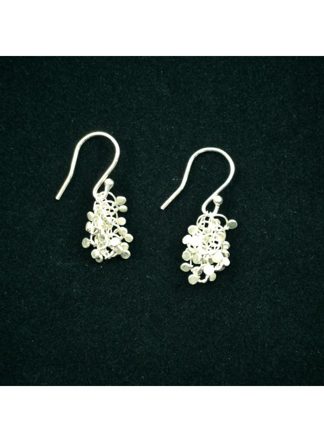 Silver Hammered knot shot drop earring